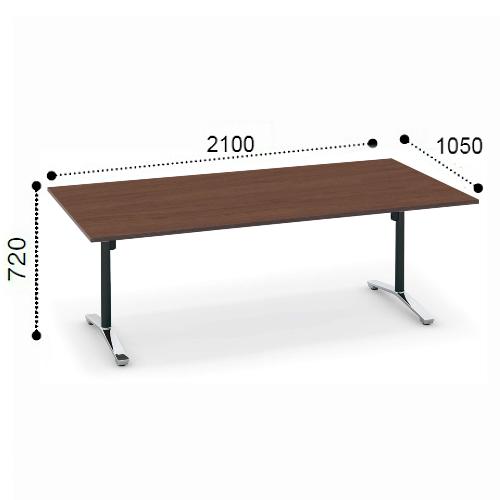 コクヨ KOKUYO VIENA ビエナ ミーティングテーブル T字脚 角形天板 フラップタイプ ポリッシュ脚 キャスター脚 W2100xD1050xH720 MT-V211FPMP2/MT-V211FPMG5