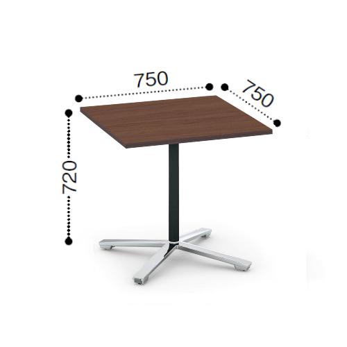 コクヨ KOKUYO VIENA ビエナ ミーティングテーブル 単柱脚 正方形天板 フラップタイプ ポリッシュ脚 キャスター脚  W750xD750xH720 MT-V77FPMP2/MT-V77FPMG5