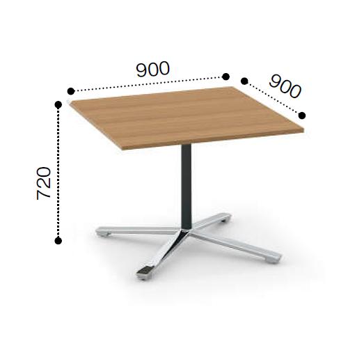 コクヨ KOKUYO VIENA ビエナ ミーティングテーブル 単柱脚 正方形天板 フラップタイプ ポリッシュ脚 キャスター脚  W900xD900xH720 MT-V99FPMP2/MT-V99FPMG5