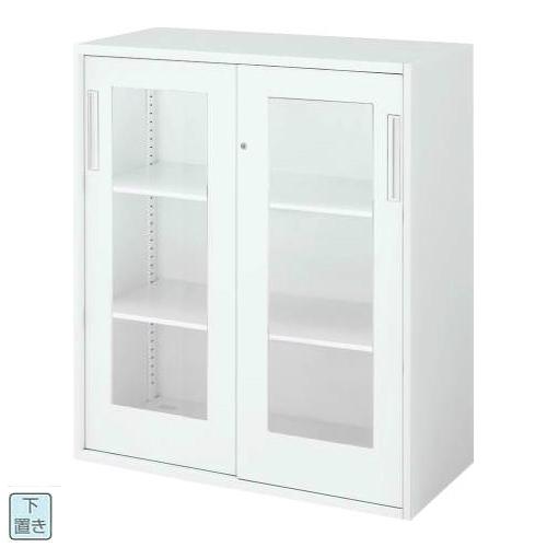 コクヨ エディア EDIA 2枚ガラス引き違い 下置き書庫 ベース必要 W800×D400×H1050 BWU-HGD258SSAWN