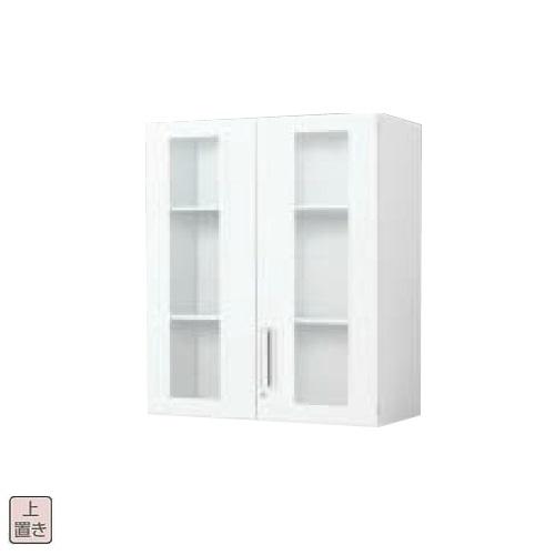 コクヨ エディア スタンダード ガラス両開き扉 上置き書庫 W800×D400×H1050 BWU-SGU58SSAWN