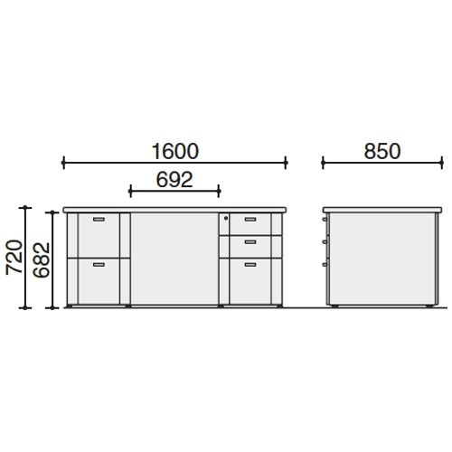 S350 両袖デスク サイズ