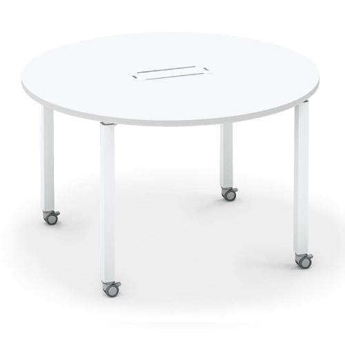 コクヨ KOKUYO オフィスデスク ワークフィット ミーティングテーブル 円形 アジャスター脚/キャスター脚 配線ボックス有 Ф1200タイプ SD-WFTBA12/SD-WFTBC12