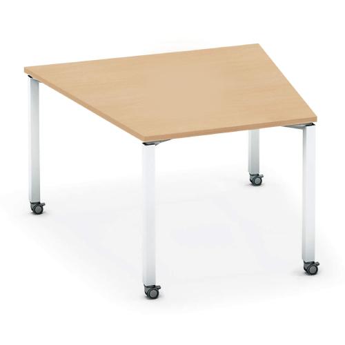 コクヨ KOKUYO オフィスデスク ワークフィット ミーティングテーブル 台形 配線ボックス無 アジャスター脚/キャスター脚 W1220×D1185 SD-WFTA118/SD-WFTC118