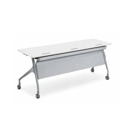 コクヨ EPIPHY エピファイ 会議用テーブル 天板フラップ式 直線タイプ/パネル付き/配線キャップ付き W2100×D600×H720mm KT-PSW1009
