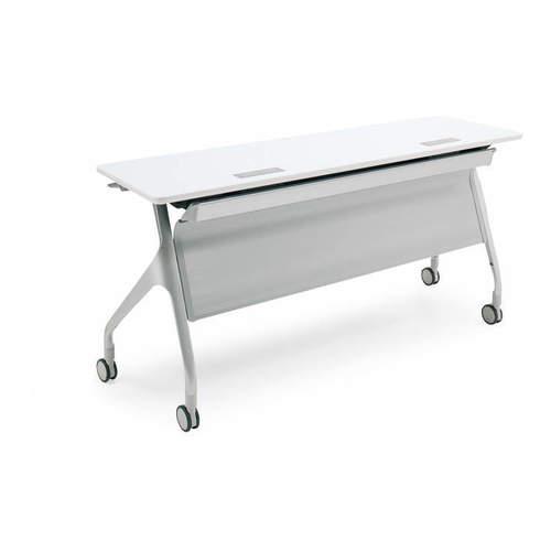 コクヨ EPIPHY エピファイ 会議用テーブル 天板フラップ式 直線タイプ/パネル付き/配線キャップ付き W1200×D600×H720mm KT-PSW1005