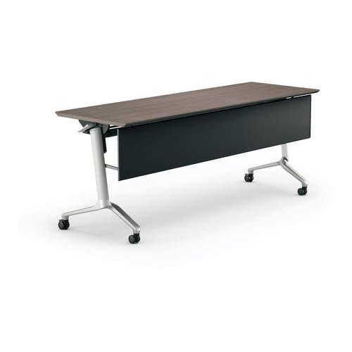 コクヨ KOKUYO ミーティングテーブル CONFEST コンフェスト フラップテーブル 会議用テーブル 天板フラップ式 スタンダードタイプ/パネル付き/棚付き W2100×D600×H720mm KT-PS1309M
