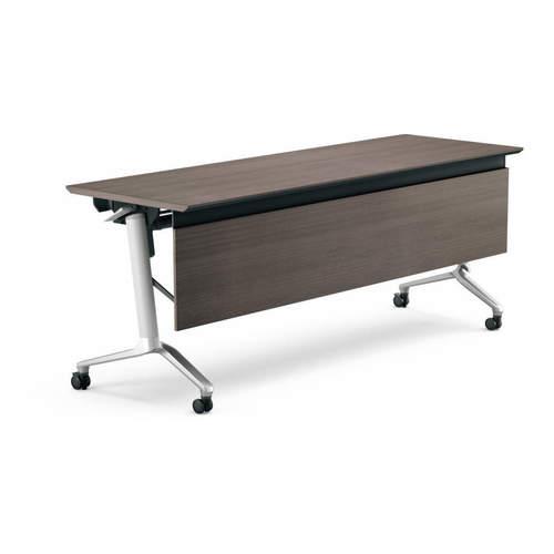 コクヨ KOKUYO ミーティングテーブル CONFEST コンフェスト フラップテーブル 会議用テーブル 天板フラップ式 ハイスペックタイプ/パネル付き/棚付き W2100×D600×H720mm KT-PS1309H