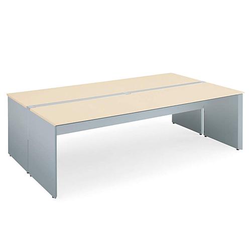 コクヨ KOKUYO WorkVista ワークヴィスタ オフィスデスク 独立テーブル シングル配線カバータイプ D800 両面タイプ ホワイト/フラットシルバー ホワイト/ホワイトナチュラル/ラスティックミディアム/アッシュブラウン W2000×D1600×H720mm SD-VD2016PK