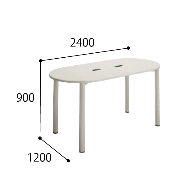 コクヨ KOKUYO 医療施設用家具 スタッフステーション ナーステーブル 4本脚タイプ ラウンド天板 配線キャップ付き W2400×D1200×H900mm HP-NTD2412DYF1NN