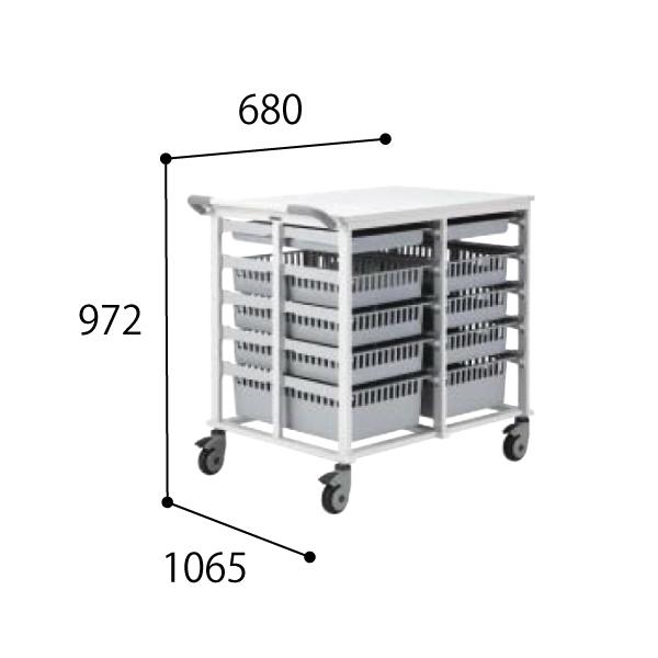 コクヨ KOKUYO 医療施設用家具 スタッフステーション メディレージ マルチカート(ダブル) W680×D1065×H972mm HP-MCT464609