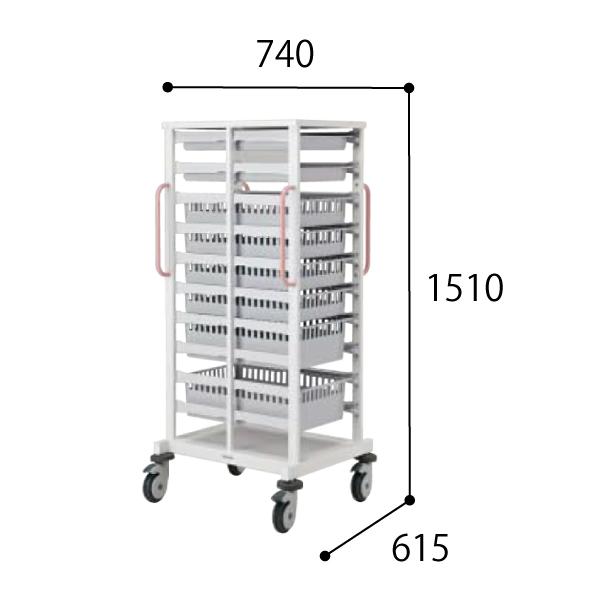 コクヨ KOKUYO 医療施設用家具 スタッフステーション メディレージ 搬送カート(シングル) W740×D615×H1510mm HP-MCT4615