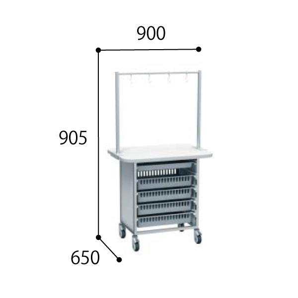 コクヨ KOKUYO 医療施設用家具 スタッフステーション メディレージ 64トレー作業台 W900 ハンガーなし 両面タイプ W900×D650×H905mm HP-MWT640906N