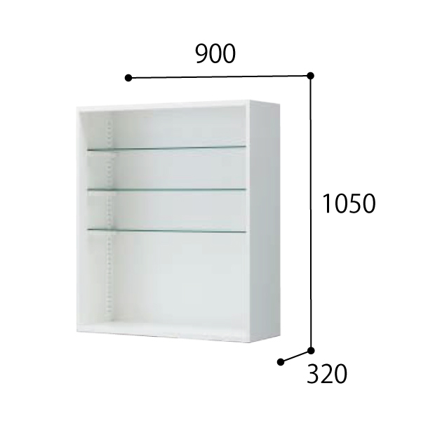 コクヨ KOKUYO 医療施設用家具 スタッフステーション エディア EDIA メディカル 水薬収納・オープン(ガラス棚3枚付属) 上置き W900×D320×H1050mm BWU-HPK59TGSSSAW