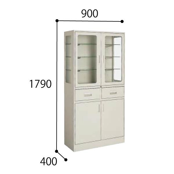 コクヨ KOKUYO 医療施設用家具 ユニット薬品棚 器械戸棚 両開き W900×D400×H1790mm HP-SG11F1N