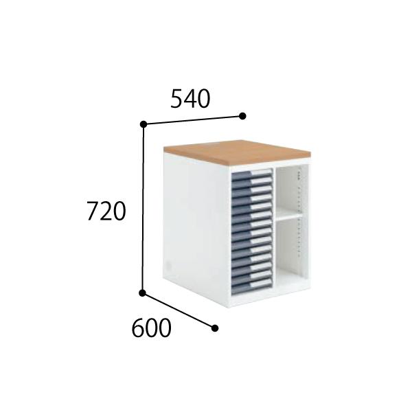 コクヨ KOKUYO 医療施設用家具 診察室 インフォント i シリーズ サイド収納 トレー・オープンコンビ 上棚なし W540×D600×H720mm HP-DHT546L/HP-DHT546R/