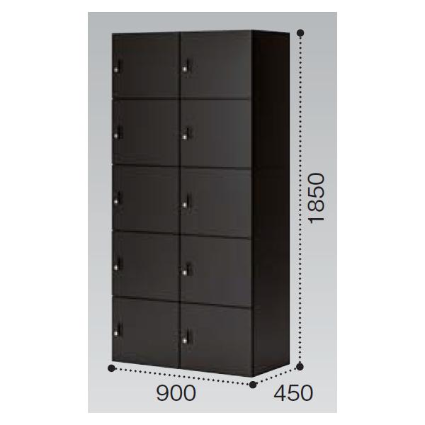 コクヨ イノン(iNON) ブラック 10人用メール穴なし Bタイプ プッシュオートロック SNN-R107AXB-E6C1