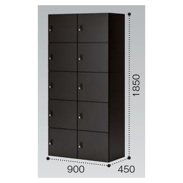 コクヨ イノン(iNON) ブラック 10人用メール穴なし Bタイプ ICカードロック SNN-R107CXB-E6C1