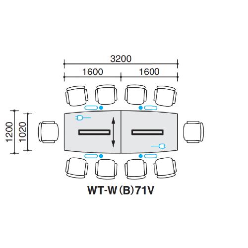 コクヨ 会議用テーブル WT-70シリーズ V字脚 ボート形天板 配線ボックスタイプ W3200×D1200×H720 WT-WB71V
