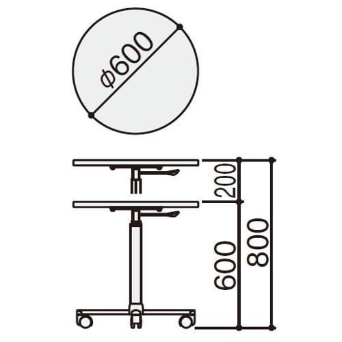 フレスコデスク サブテーブル サイズ