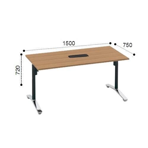 コクヨ KOKUYO VIENA ビエナ ミーティングテーブル 角形天板 T字脚 天板固定 ポリッシュ脚 キャスター脚 配線ボックス付 W1500xD750xH720 MT-V157BPMP2-C/MT-V157BPMG5-C