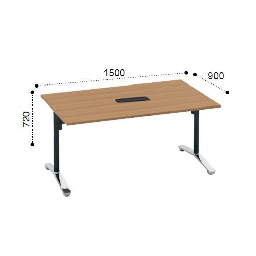 コクヨ KOKUYO VIENA ビエナ ミーティングテーブル 角形天板 T字脚 天板固定 ポリッシュ脚 キャスター脚 配線ボックス付 W1500xD900xH720 MT-V159BPMP2-C/MT-V159BPMG5-C