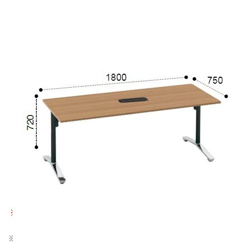 コクヨ KOKUYO VIENA ビエナ ミーティングテーブル 角形天板 T字脚 天板固定 ポリッシュ脚 キャスター脚 配線ボックス付 W1800xD750xH720 MT-V187BPMP2-C/MT-V187BPMG5-C