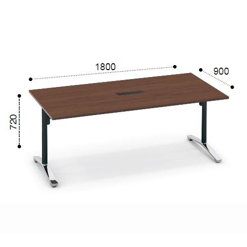 コクヨ KOKUYO VIENA ビエナ ミーティングテーブル 角形天板 T字脚 天板固定 ポリッシュ脚 キャスター脚 配線ボックス付 W1800xD900xH720 MT-V189BPMP2-C/MT-V189BPMG5-C