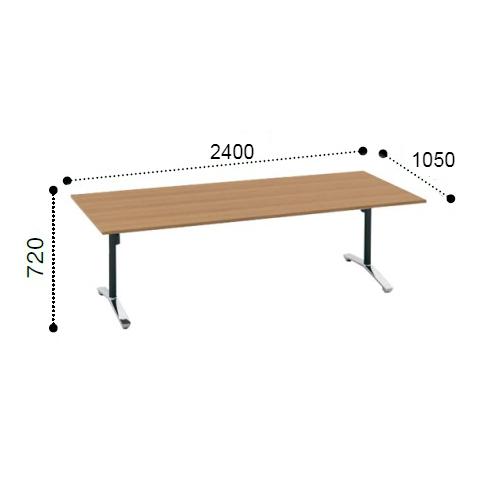 コクヨ KOKUYO VIENA ビエナ ミーティングテーブル 角形天板 T字脚 天板固定 ポリッシュ脚 アジャスター脚 配線ボックスなし W2400xD1050xH720 MT-V241PMP2-E/MT-V241PMG5-E
