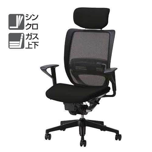 ナイキ NAIKI オフィスチェア YE型 ワイイーチェア ハイバック 座布張り 背メッシュ ヘッドレスト付 固定肘 ランバーサポート付 YE512FHB