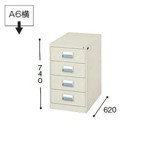 ナイキ NAIKI カードキャビネット A6サイズ引き出しタイプ W413×D620×H740 A6・2列 4段 A6-24-LG