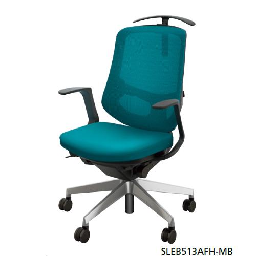 NAIKI オフィスチェア SLE型 Selift セリフトチェア(アルミ脚) ミドルバック 座布張り/背メッシュ張り 固定肘 ハンガー付 SLEB513AFH