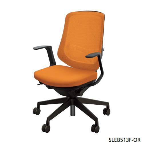 ナイキ NAIKI オフィスチェア SLE型 Selift セリフトチェア(ブラック) ミドルバック 座布張り/背メッシュ張り 固定肘 SLEB513F