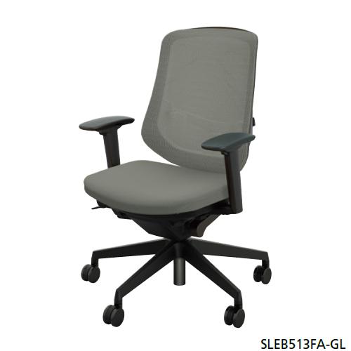 ナイキ NAIKI オフィスチェア SLE型 Selift セリフトチェア(ブラック) ミドルバック 座布張り/背メッシュ張り 可動肘 SLEB513FA