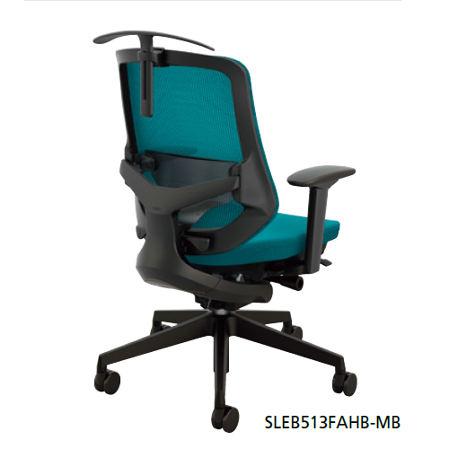 ナイキ セリフトチェア(ブラック) ミドルバック 座布張り/背メッシュ張り 可動肘 ペルビックランバーサポート付・ハンガー付 SLEB513FAHB