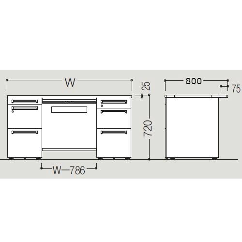 オカムラ アドバンス-S D800 両袖デスク サイズ