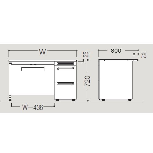オカムラ アドバンス-S D800 片袖デスク3段 サイズ