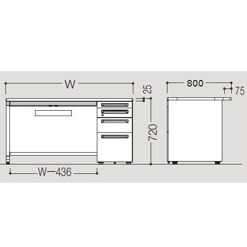 オカムラ アドバンス-S D800 片袖デスク4段 サイズ
