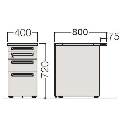オカムラ アドバンス-S 4段脇机 W400×D800 3VD2BB-MK
