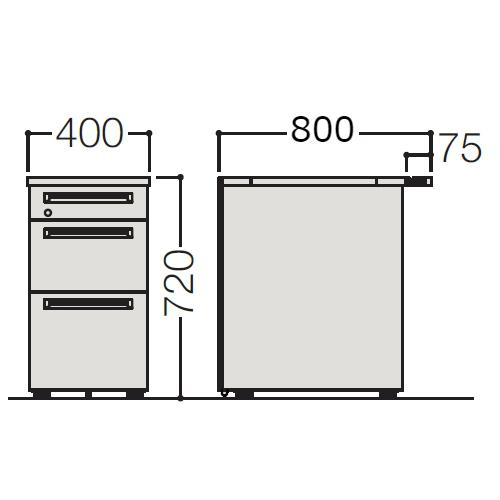 オカムラ アドバンス-S 3段脇机(小引出し+B5+A4/B4兼用)W400×D800 3VD2CB-MK