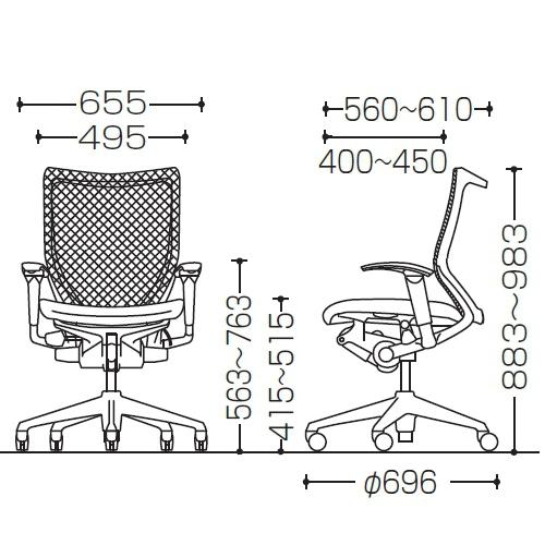 バロンチェア グラデーションサポートメッシュ サイズ