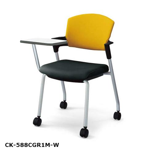コクヨ KOKUYO プロッティチェア ミーティングチェア キャスタータイプ 総張り 布 背座別色 肘付チェア メモ台付 CK-588C※-W/V