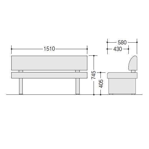 ロビーチェアー RC150-57S サイズ