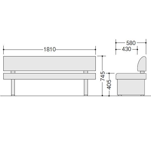 ロビーチェアー RC180-57S サイズ