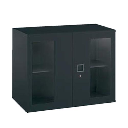 オカムラ okamura レクトライン ブラックタイプ ガラス両開き書庫 上置き・下置き用 W900D450H710  4B31GF-ZH25
