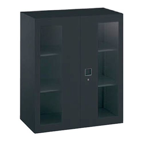 オカムラ okamura レクトライン ブラックタイプ ガラス両開き書庫 上置き・下置き用 W900D450H1050  4B33GF-ZH25