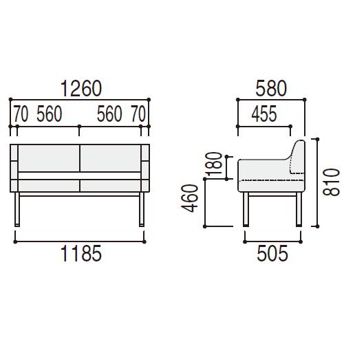 ユニバーサルデザインロビーチェアUB-260N サイズ