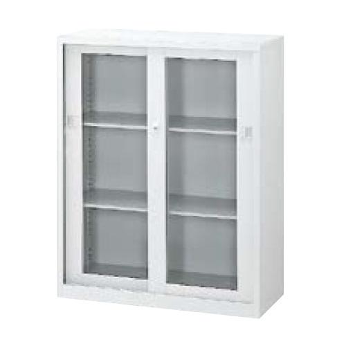 ウチダ A4判書庫 下置き11型ガラス引き違い書庫 シリンダー錠 W900×D400×H1120 棚板2枚 5-847-3007
