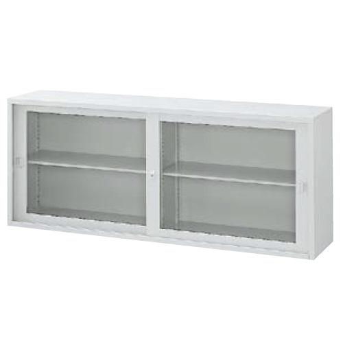 ウチダ A4判書庫 上置き07W型ガラス引き違い書庫 シリンダー錠 W1800×D400×H730 棚板2枚 5-847-3009