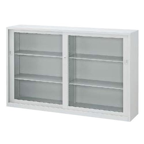 ウチダ A4判書庫 下置き11W型ガラス引き違い書庫 シリンダー錠 W1800×D400×H1120 棚板4枚 5-847-3011
